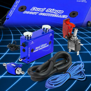 Aluminum Mt Dual Stage Turbo Electronic Boost Pressure Controller switch Blue