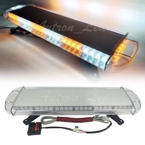 56w Led Amber White Flashing Beacon Strobe Roof Tow plow Truck Wrecker Light Bar