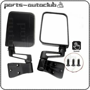 Manual Rear View Mirrors For 1987 02 Jeep Wrangler Passenger Driver Side Pair