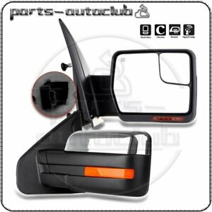 Pair For 2007 14 Ford F 150 Power Heated Puddle Signal Chrome Side View Mirrors