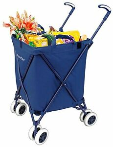 Grocery Shopping Cart With Wheels Folding Water resistant Heavy Duty Canvas New