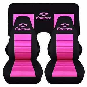 Front And Rear Chevy Camaro Coupe Black And Hot Pink Seat Covers 2010 2015 Abf