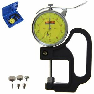 Thickness Gauge Quick Micrometer Caliper Dial Indicator W 6 Anvils 0 1 0 001