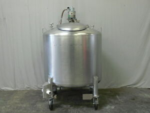 250 Gallon Stainless Steel Process Tank W Sloped Bottom Gast Pneumatic Mixer