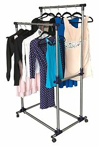 Rolling Racks For Clothes Heavy Duty Double Rail Adjustable Garment Clothing New