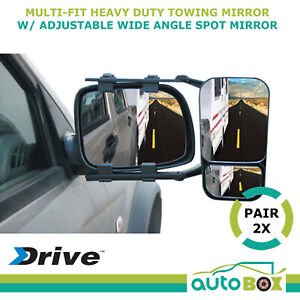Pair 2 X Towing Mirrors Universal Multi Fit Trailer Caravan Wide Angle Spot 4wd