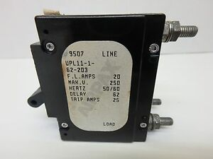 Airpax Upl11 1 62 203 Circuit Breaker 20 Amps 2 pole Bullet 250v Ac Delay 62