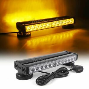 24 Led 12 Double Side Flashing Work Roof Light Bar Beacon Warning Strobe Amber