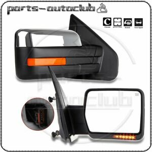 Chrome 2004 14 Ford F 150 Power Heated Led Puddle Signals Side Mirrors Pair Set