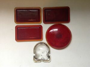 Vintage 5 Lot Red Clear Glass Lens Old Stimsonite Tail Stop Marker Tag Antique