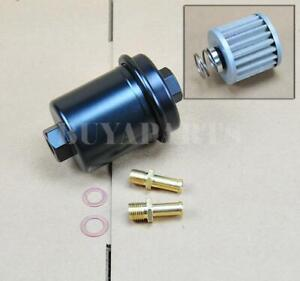 Universal High Performance Racing Fuel Filter 200psi Turbo Charger N a Black