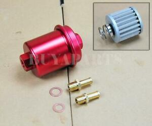 Universal High Performance Racing Fuel Filter 200psi Turbo Charger N a Red