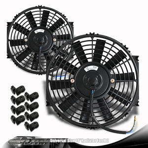 2x Black 14 High Performance Electric Cooling Pull Slim Radiator Fan For Scion