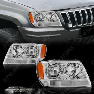 Clear Lens Amber Reflector Chrome Headlights For 1999 2004 Jeep Grand Cherokee