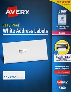 Avery 5160 Easy Peel White Address Labels Laser Printers Pop up Edge 1 X 2 5 8