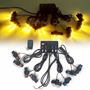 8in1 16 Led 16w Flash Strobe Warning Light Deck Dash Grill Remote Control Amber