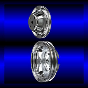 Chrome Small Block Chevy Pulley Set 2 Pulleys Long Pump Sbc For Alt And Ps