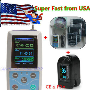 2 4 Color Lcd Ambulatory Blood Pressure Holter 24h Pr Monitoring oximeter Ce Us