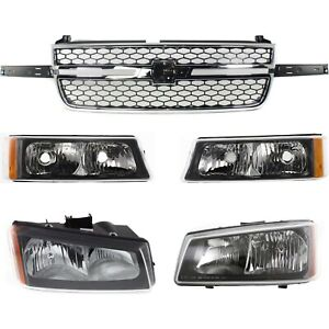 Grille Assembly Kit For 2003 2006 Chevy Silverado 1500 Front 5pc
