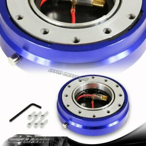1 Blue 6 hole Steering Wheel Short Quick Release Hub Adapter Kit Universal