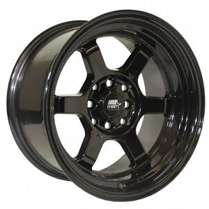 Mst Wheels Time Attack Rims 15x8 4x100 4x114 3 0 Offset Stepped Lip Black New