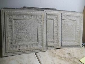 Old Shabby White Embossed Tin Ceiling Tile 25 Picture Frame Style