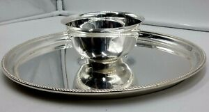 Towle Silver Plate 12 1 4 Round Serving Platter Tray Dip Bowl