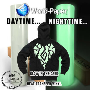 Heat Transfer Vinyl Glow In The Dark 15 X 1 Foot htv Roll Phosphorescence