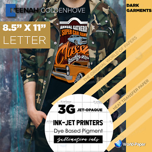 Heat Transfer Paper Sublimation Printing For Dark Cotton 8 5x11 X 10 Sheet 3g 1