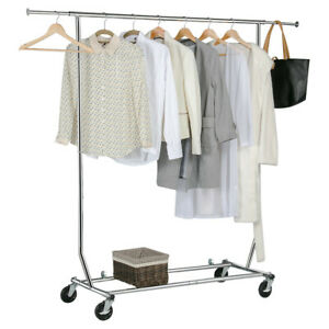 Heavy Duty Garment Rack Rolling Adjustable Clothes Rack Clothes Hanger Dry Shelf