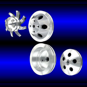 Billet Aluminum Small Block Chevy 4 Pulley Set Long Water Pump Alt And Ps