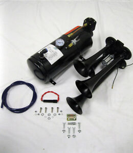 Quad 4 Air Train Horn Kit Semi Truck Boat Black Horns W 120 Psi Compressor