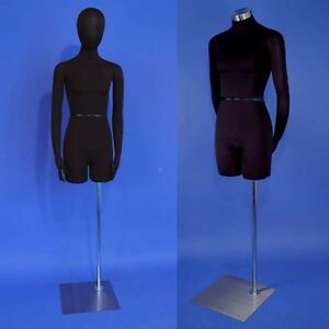Brand New Black Dress Form Female Mannequin With Head And Flexible Arms F01h sb