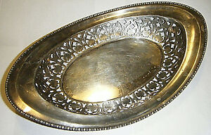 Antique American Meriden Sterling Bread Tray Bowl Beaded Rim Pierced Open Work