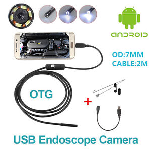 Otg 7mm Usb Endoscope Inspection Camera Borescope Waterproof 6 Led For Android