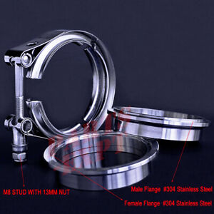 Exhaust Downpipe 3inch V Band Clamp 3 Male Female Flange Kit Ss304 Stainless