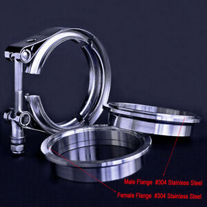 Tailpipe Downpipe 3 5 Inch Exhaust V Band Clamp And Flange Kit Male Female 304ss