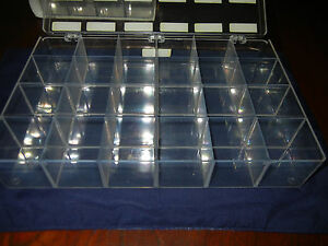 Clear Styrene 24 Compartment Cell Sample Box approx 13 L X 9 W X 2 1 2 H