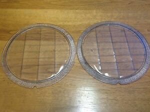 Lqqk Pair Duplex 8 1 4 Headlight Lenses Old Glass Vintage Auto Early