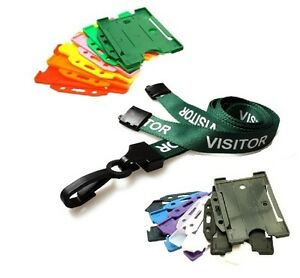 Green Visitor Breakaway Plastic Clip Lanyard With Landscape Id Card Holder