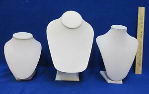 Jewelry Display Busts White Leather Stands 3 Sizes Necklaces Chains Chokers