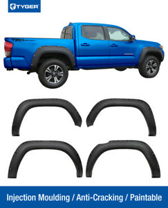 Tyger For 2016 2018 Toyota Tacoma Fender Flares Matte Black Pocket Riveted Style