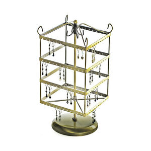 For Sale Counter Earring Rotating Square Display Rack 96 Pairs gold Color