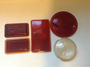 Vintage 5 Lot Red Clear Old Glass Lens Tail Stop Brake Cowl Fender Marker Light