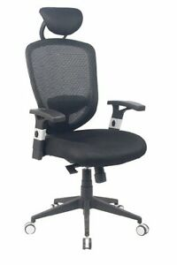 Office High Back Mesh Chair With Adjustable Armrests Headrest And Lumbar Pad