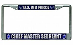 U S Air Force Chief Master Sergeant Photo License Plate Frame