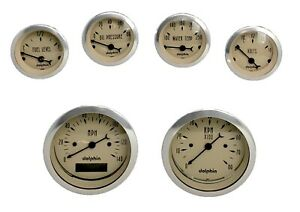 6 Gauge Dash Set Hot Rod Street Rod Universal Programmable Tan