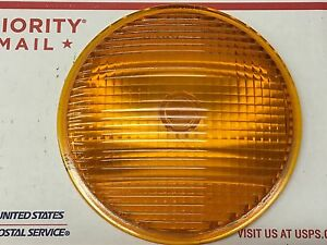 Large Vintage Arrow 20020 Amber Warning Glass Lens Fire Truck Bus Van Old Light