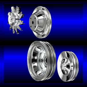 Chrome 4 Pulley Set For Small Block Chevy Long Water Pump 350 383 400 Sbc