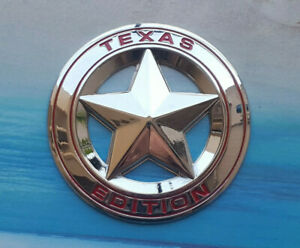 Alloy Silver Red Texas Edition Star Emblem Car Badge Sticker Chevy Ford Dodge